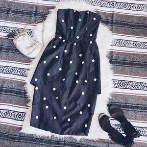 Gorgeous Vintage 80's Strapless Polka Dot Dress